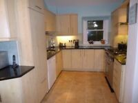 Complete kitchen, 14 light Maple units, quartz work top, integrated fridge, Range master cooker.