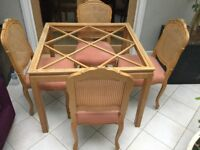 SOLID BEECH GLASS TOP TABLE & 4 CHAIRS