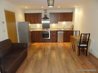 Modern one double bedroom flat with open plan kitchen reception room, and a modern bathroom with ...