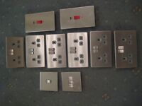 Selection of Satin, Stainless Steel Sockets and Switches