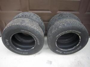 Set of Four Used 255/65R16 National Commando A/S M+S Tires Plus a New Spare Tire