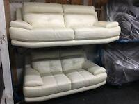 New/Ex Display White/Cream Leather Genoa 3 Seater Sofa + 2 Seater Sofa