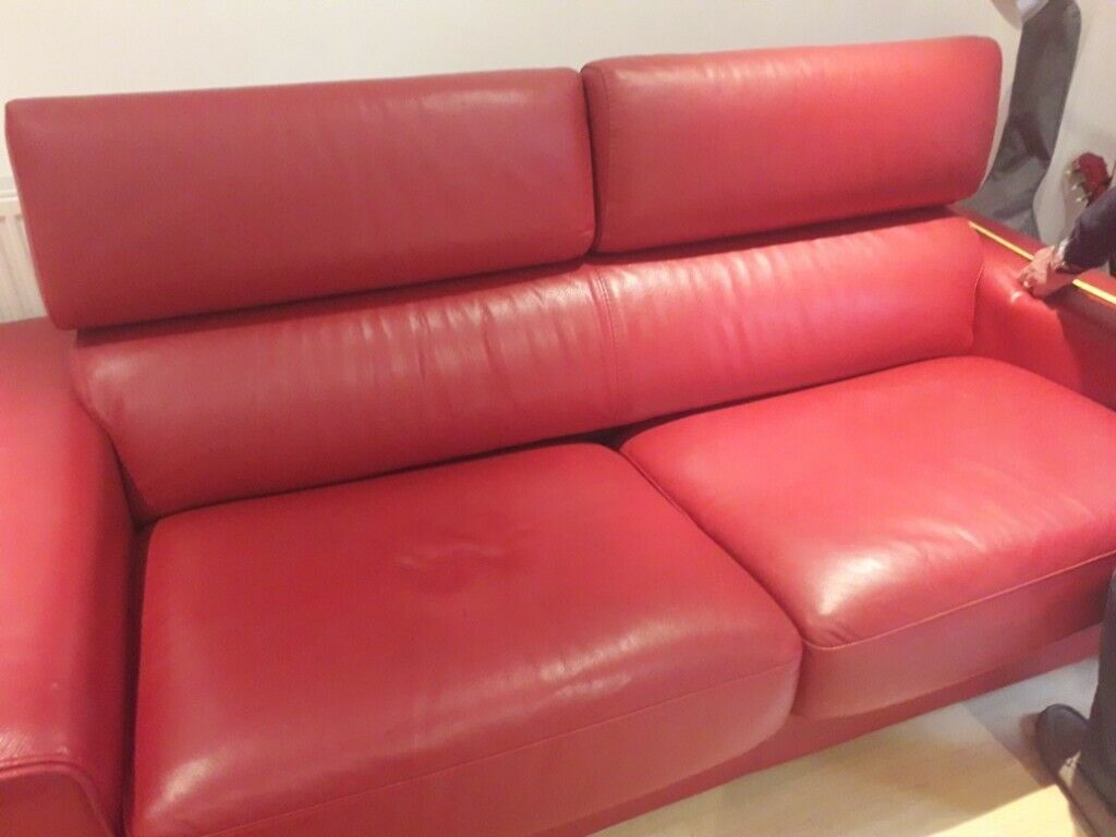 Dfs Red Leather Sofa Bed No Mattress In Carlton