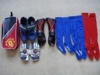 FOOTBALL BOOTS Umbro sz8 Man U BOOT BAG Adidas SHIN PADS plus Socks Shorts Gloves.
