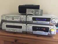 Technics Hi-FI with 5 DVD changer, cassette deck, amplifier and five sound round sound speakers