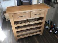 Solid oak drawers / wine rack