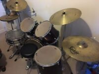 Full size Mapex wine coloured drum kit