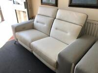 Furniture village white leather electric reclining settee 3+1
