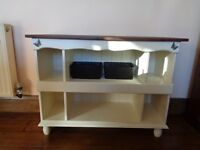 Cabinet- solid pine construction in a pale cream with a dark dyed and waxed Walnut coloured top
