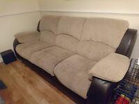 Reclining three seater sofa & arm chair