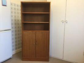 Vintage teak book case / china cabinet with adjustable shelves, 69 cm (w) x 144 cm (h) x 28 cm (d)