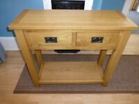 Rustic Saxon Solid Oak 2 Drawer Console table - Brand new, assembled, slight second 50% off