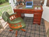 Antique Style Leather Writing / Office Desk, with matching Chesterfield Captain Chair.