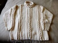 """Hand Knitted Polo Neck Jumper, Camel Acrylic Chunky, 56"""" Chest, Never Worn"""