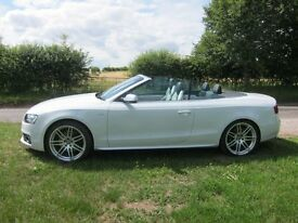 AUDI S5 CABRIOLET 3.0 TFSI QUATTRO V6T. GLACIER WHITE. ONLY 26000 MILES. IMMACULATE CONDITION