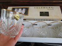 Salzburg Gold Flandre =Lead Crystal Glasses with gold rim.