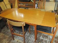 Extendable Kitchen/Dining table and 4 chairs with long sideboard