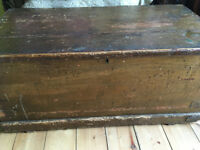 old wooden trunk/ table/ ottoman