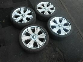 STATUS CHROME 18 INCH ALLOY WHEELS 8 STUD,WAS USED ON AUDI 80 CONVERTIBLE