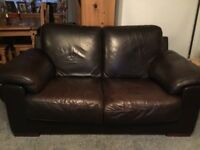 2 Seater Real Leather Sofa.