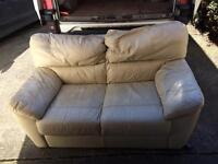 Sofa 2 seater cream/white leather and footstool