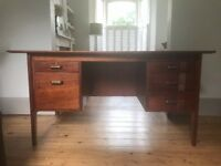 Mid Century Vintage Retro Rosewood 5 Drawer Office Desk
