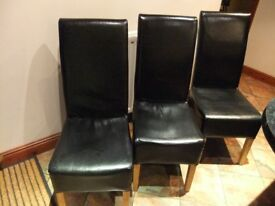 6 Matching Black Leather Dining Chairs