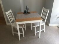 Ikea LERHAMN Table and 2 Chairs + 2 Fold Away Chairs - Less Than 6 Months Old