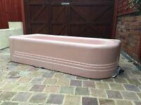 Stunning pink Art Deco bathroom suite (bath and sink)