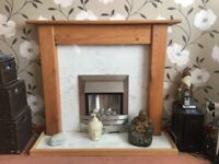 Pine Fireplace with base and marble effect back, Electric Fire hardly used