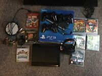 PS3 Slim 500GB with 3 Controller and mike and 8 Games