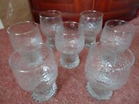 GOBLET STYLE RIPPLE EFFECT GLASSES X 7