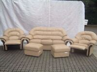 Beige Leather 3 Seater Couch, 2 fully reclining chairs and 2 footstools Klaussner Furniture