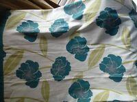 Eyelet Curtains Teal & Poppy Pattern
