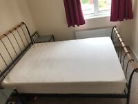 metal and wood double bed stand with memory foam mattress and matching side tables
