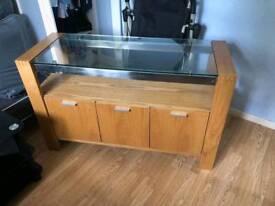 Light oak glass top sideboard