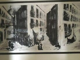 Mediterranean City, in ink, with wooden frame original work