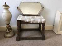 VINTAGE WOODEN BENCH upholstery STOOL MIRROR FOOT STOOL REST