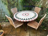 Table and chairs suitable for conservatory or garden
