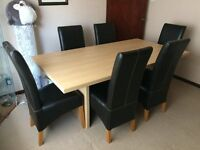 Light Oak Table and Leather Chairs with matching Sideboard