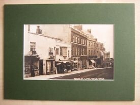 Lyme Regis Broad St, Bridge St. Cart Rd, 5 old photograph reproductions mounted ready for framing
