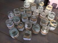 23 Assorted White Lace and String/Hessian/Jute Decorated Jars