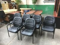 6 X BLACK LEATHER BOARDROOM CHAIRS, MEETING CUSTOMER, WAITING, RECEPTION OFFICE