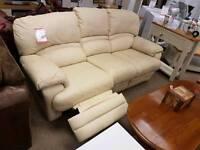 Cream three seater recliner sofa
