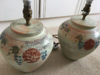 Pair of decorative lampshade bases