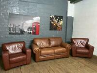 REAL LEATHER SOFA AND TWO ARMCHAIRS VERY STYLISH