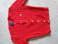 Ralph Lauren red cable Knit girls cardigan m 8 - 10