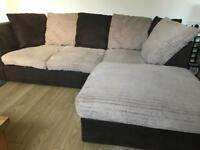 Cosy corner sofa - jumbo cord material - able to deliver
