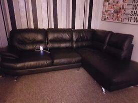 Black leather corner suite