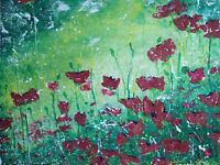 Original painting Abstract landscape medium size canvas flowers colour meadow poppy